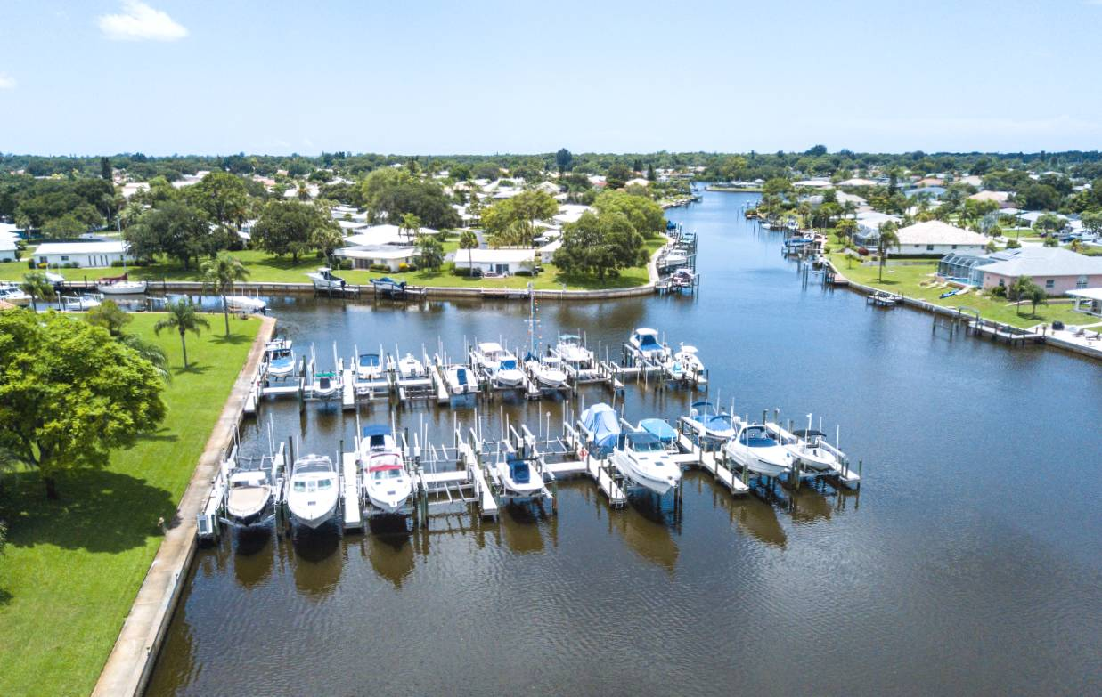 Bird's eye view of Englewood Isles Marina